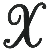 Embroidered Iron-On Script Letter X - 3""